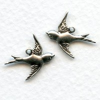 Flying Bird Pendants Oxidized Silver (6 Pairs)