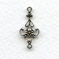 Delicate Floral Connector Filigree Oxidized Silver (12)