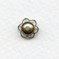 Elegant Filigree Bead Caps 9mm Oxidized Brass (12)