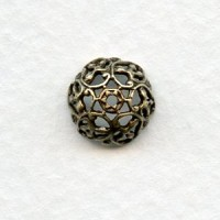 Elaborate 9mm Filigree Bead Caps Oxidized Brass (6)