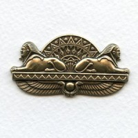 Double Egyptian Sphinx Oxidized Brass Stamping (1)