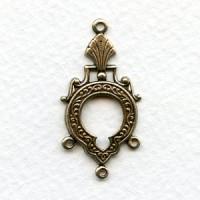 Three Strand Connectors Keyhole Detail Oxidized Brass (6)