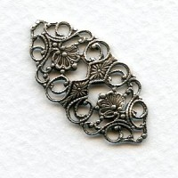 Ornate Flat Filigree Connector 32mm Oxidized Silver (6)