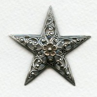 Filigree Floral Star 45mm Stamping Oxidized Silver (1)
