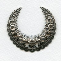 Ornate Large Half Moon 49mm Stamping Oxidized Silver (1)
