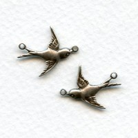 Flying Bird Connectors Oxidized Silver Right and Left