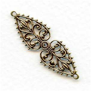 Oval Filigree Connector or Bail Oxidized Brass 37mm (6)
