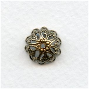 Floral Detail 13mm Bead Caps Oxidized Brass (12)