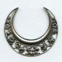 Ornate Huge Crescent Moon 63mm Stamping Oxidized Silver (1)