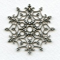 Snowflake Shaped Stamping Oxidized Silver 48mm (1)