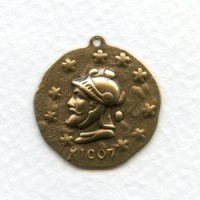 ^Roman Coin Stampings with Loop 23mm Oxidized Brass (6)