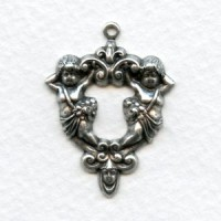 Ornate Cherubs Hoops 31mm Oxidized Silver (4)