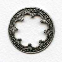 Floral Framework for 25mm Cabochons Oxidized Brass (6)