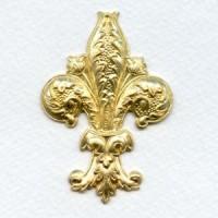 Fabulous 62mm Fleur-de-Lys Raw Brass (1)