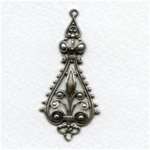Filigree Pendant Drops 55mm Oxidized Silver (6)
