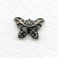 Filigree 15mm Butterfly Pendants Oxidized Silver (6)