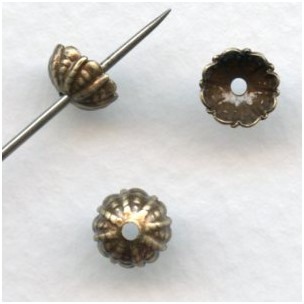 Fluted Bead Caps 7.5mm Oxidized Brass (12)