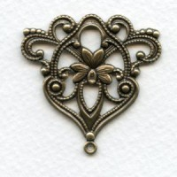 Floral Triangle with Loop Oxidized Brass 40mm