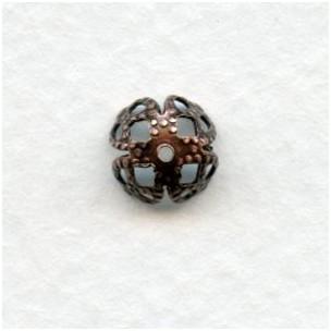 Filigree Bead Caps 7mm Oxidized Copper (12)