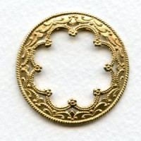 Floral Framework for 25mm Cabochons Raw Brass (6)
