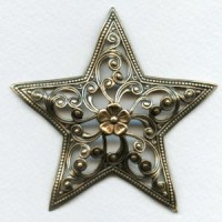 Filigree Floral Star 79mm Stamping Oxidized Brass (1)