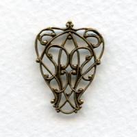 Pear Shape Filigree Connectors Oxidized Brass (6)