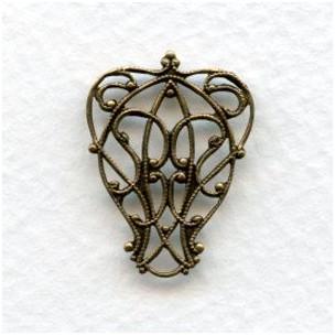 Pear Shape Filigree Connectors Oxidized Brass (6)