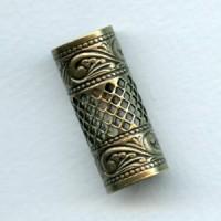 Ornate Filigree Tube 32x9mm Oxidized Brass (1)