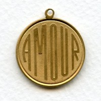 Amour French Charms Raw Brass 26mm (3)