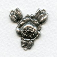Rose Connector 26mm Oxidized Silver (2)