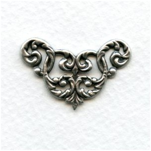 Feminine Filigree Corners Oxidized Silver (4)