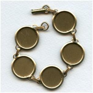 Bracelet Finding Oxidized Brass 18mm Settings (1)