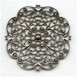 Ornate Flat 62mm Filigree Oxidized Silver (1)