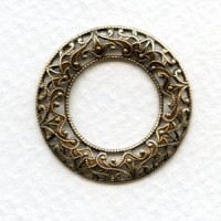Filigree Domed Open Circles Oxidized Brass 28mm