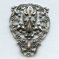 Ginormous Filigree Stamping 73mm Oxidized Silver (1)