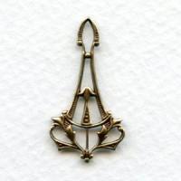 Delicate Art Nouveau Pendant Drops Oxidized Brass (6)