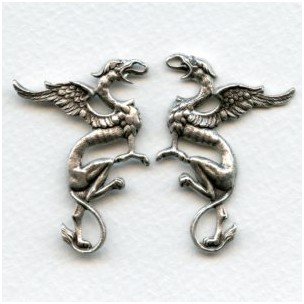 Medieval Style Griffin Stampings Oxidized Silver (1 set)