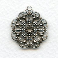 Round Filigree with Loop Oxidized Silver 23mm (6)
