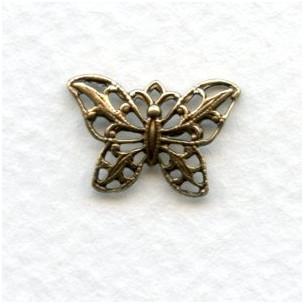 Filigree 15mm Butterfly Pendants Oxidized Brass (6)