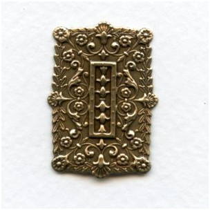 Embossed Rectangles Oxidized Brass 35x25mm (6)