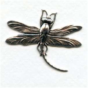 Large Dragonfly Curved Tail Oxidized Silver (3)