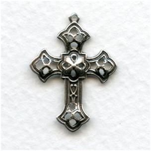 Filigree Cross Pendants Oxidized Silver 26mm (12)