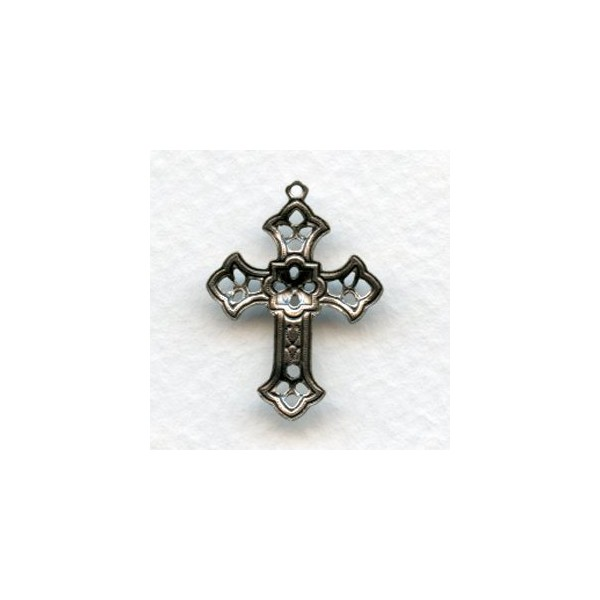 Filigree cross pendants oxidized silver 26mm 12 filigree cross pendants oxidized silver 26mm aloadofball Image collections