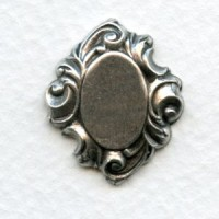 Elaborate Setting Bases Oxidized Silver 12x10mm (2)
