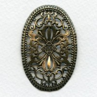 Ornate Oval Stamping 54mm Oxidized Brass (1)