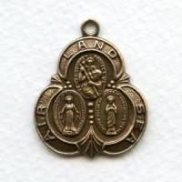 Saint Medal Oxidized Brass Land Air Sea 30mm (1)
