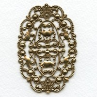Grand Oval Filigree Oxidized Brass Stamping (1)