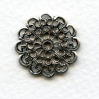 Filigree Round and Flat 20mm Oxidized Silver (12)