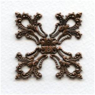 Maltese Cross Filigree Stamping in Oxidized Copper (1)