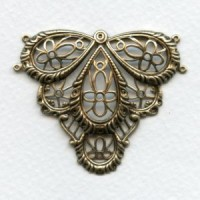 Victorian Style Connector Oxidized Brass 49mm (1)
